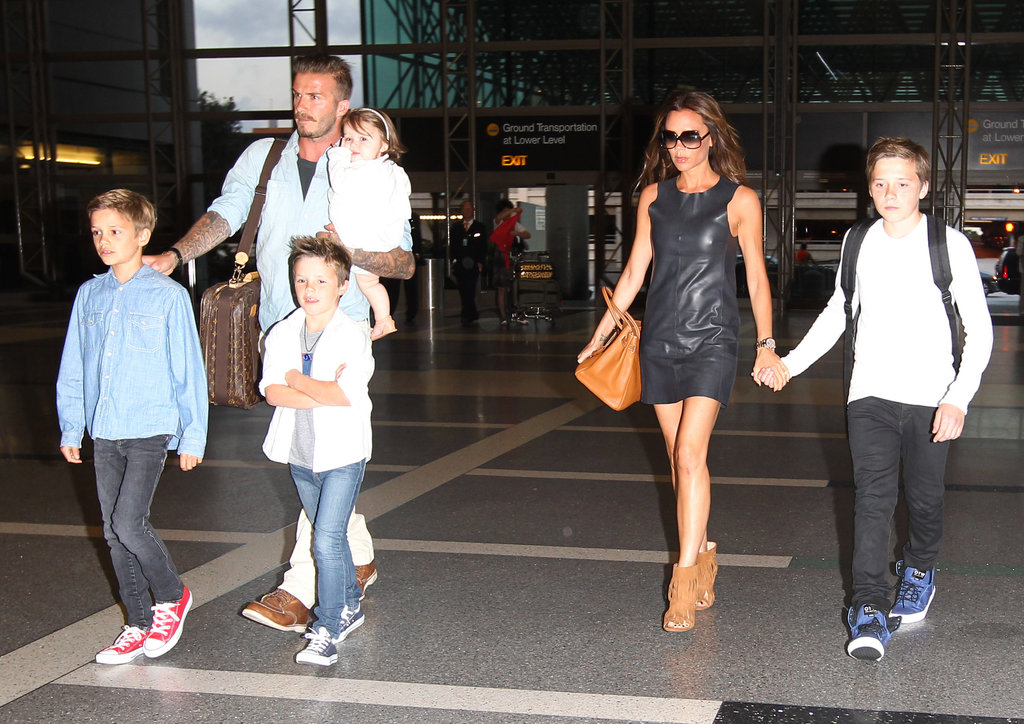 The whole Beckham family traveled through LAX in May.