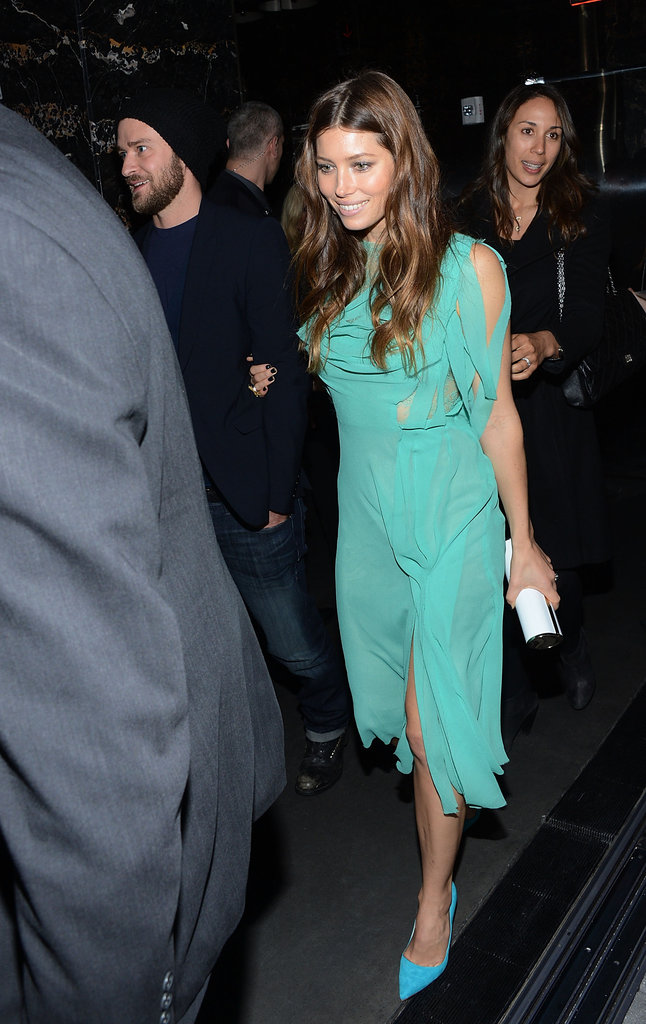 Jessica Biel wore a green dress at the Playing For Keeps premiere afterparty in NYC.