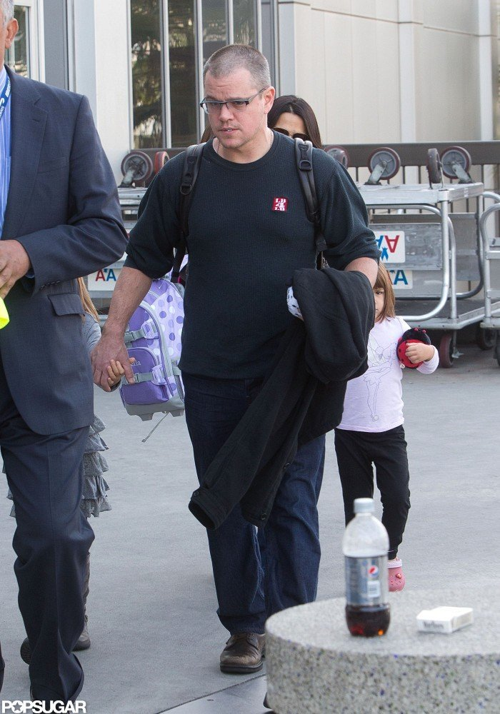 Matt Damon and his family walked out of LAX.