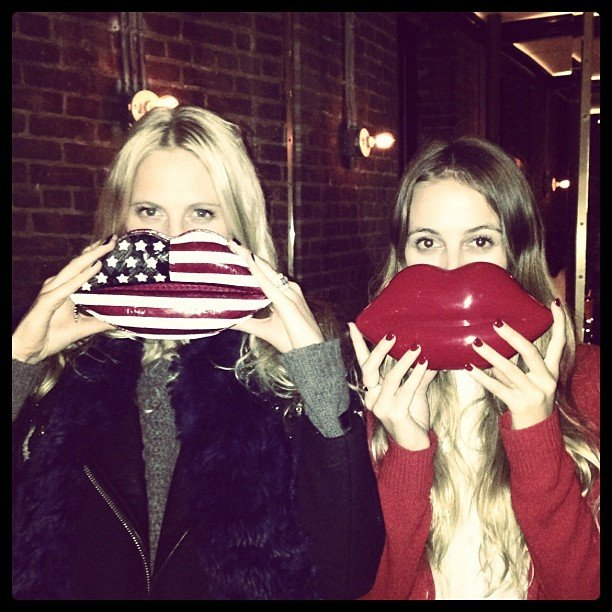 Poppy Delevingne and Harley Viera-Newton showed off their lip clutches. Source: Instagram user poppydelevingne