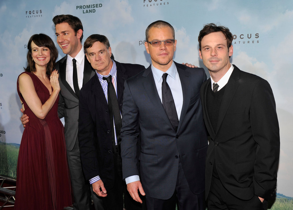 Rosemarie DeWitt, John Krasinski, Gus van Sant, Matt Damon and Scoot McNairy stuck close together at the premiere of their new film, Promised Land, in New York on December 4.