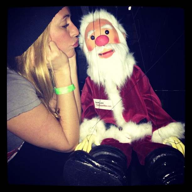Cat Deeley snuggled with Santa. Source: Instagram user catdeeley