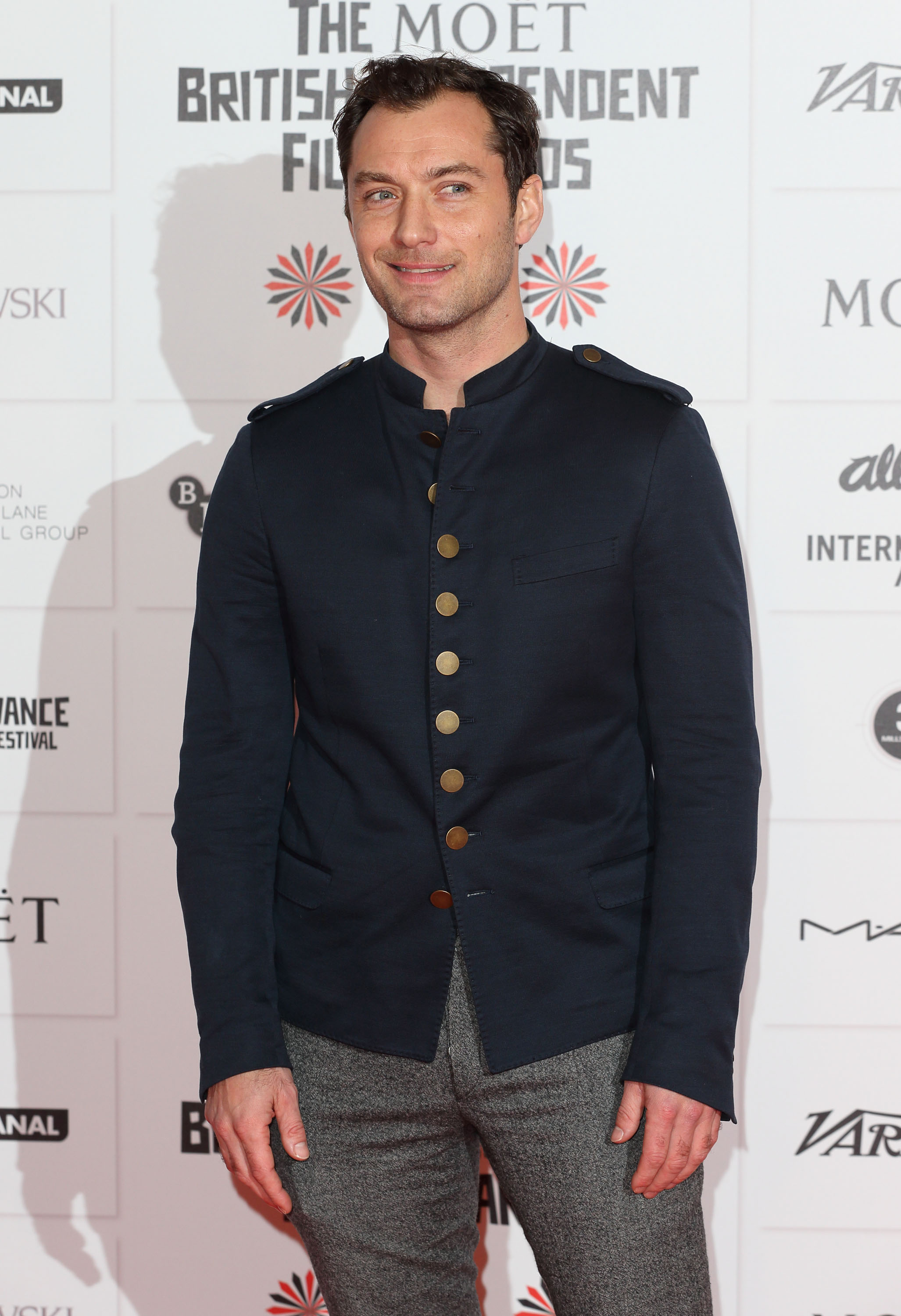 Jude Law went for a military-inspired look at the BIFAs.