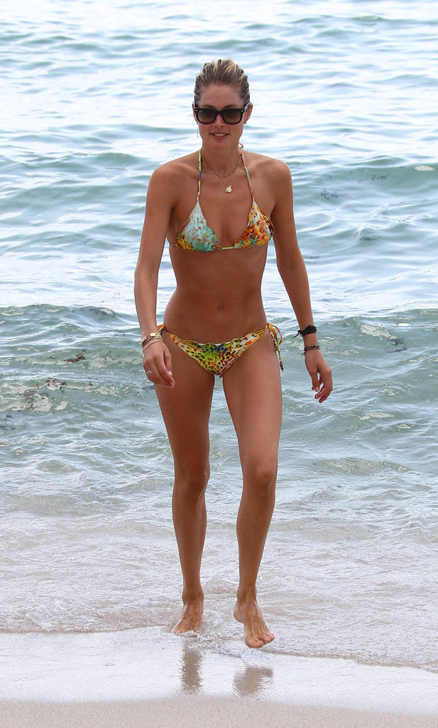 Doutzen Kroes soaked up the sun in a printed bikini while vacationing in Miami in August 2012.