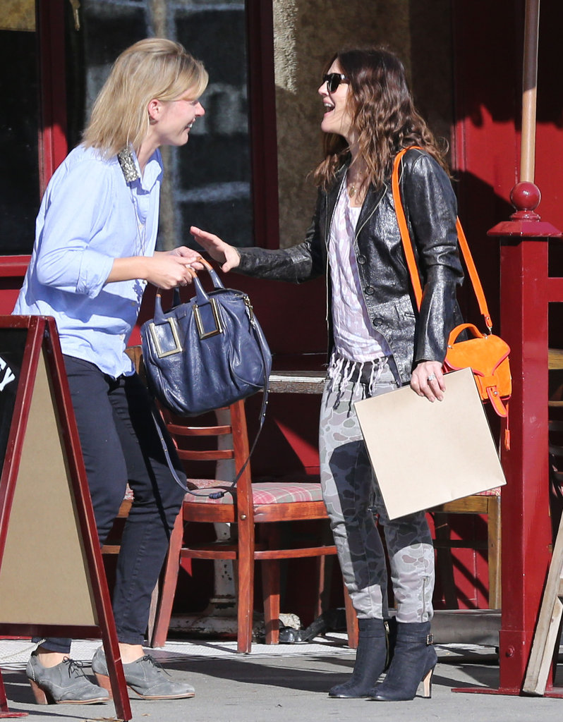 Drew Barrymore laughed with a friend in LA.