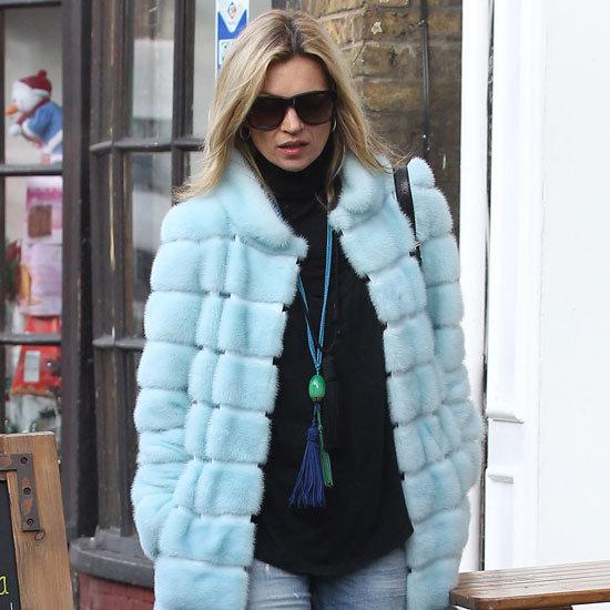 Kate Moss Wearing Light-Blue Fur Coat