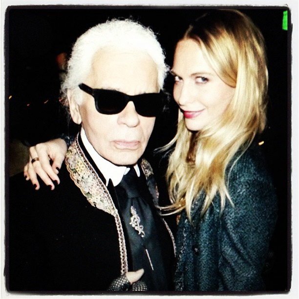 """Poppy Delevingne shared a photo of herself with """"the king,"""" otherwise known as Karl Lagerfeld. Source: Instagram user poppydelevingne"""