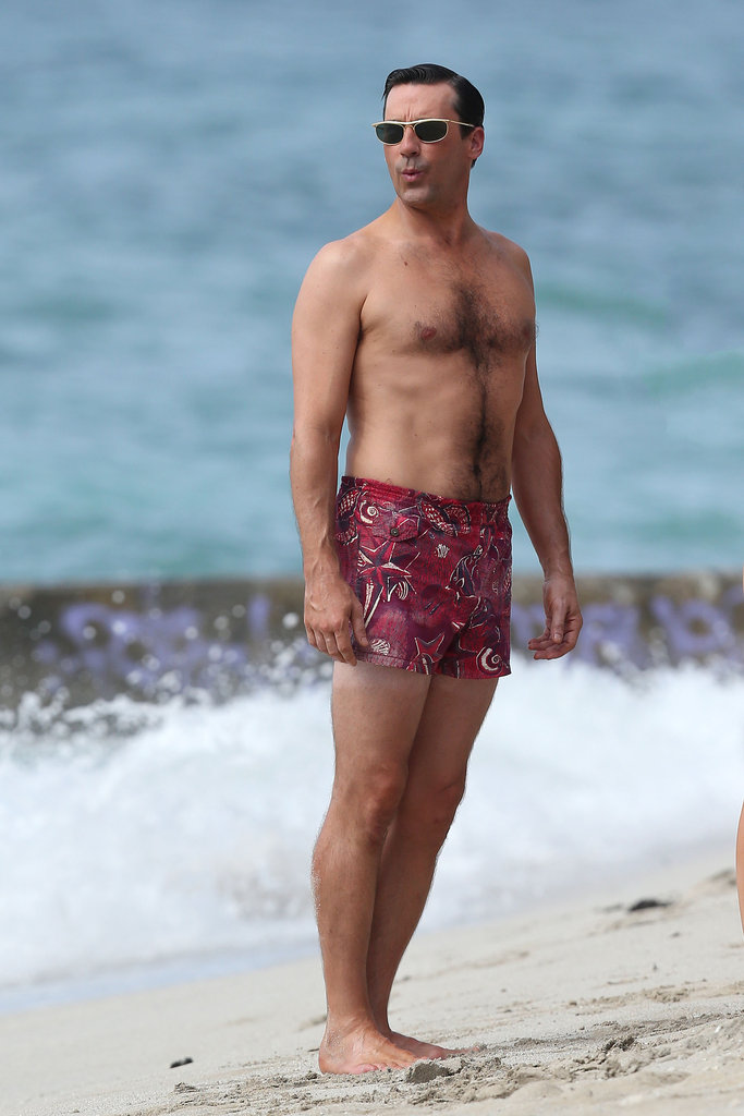 Jon Hamm wore retro-cool swim trunks while shooting scenes for Mad Men in Hawaii this October.