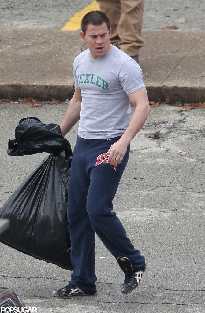 Channing Tatum wore workout gear on set.