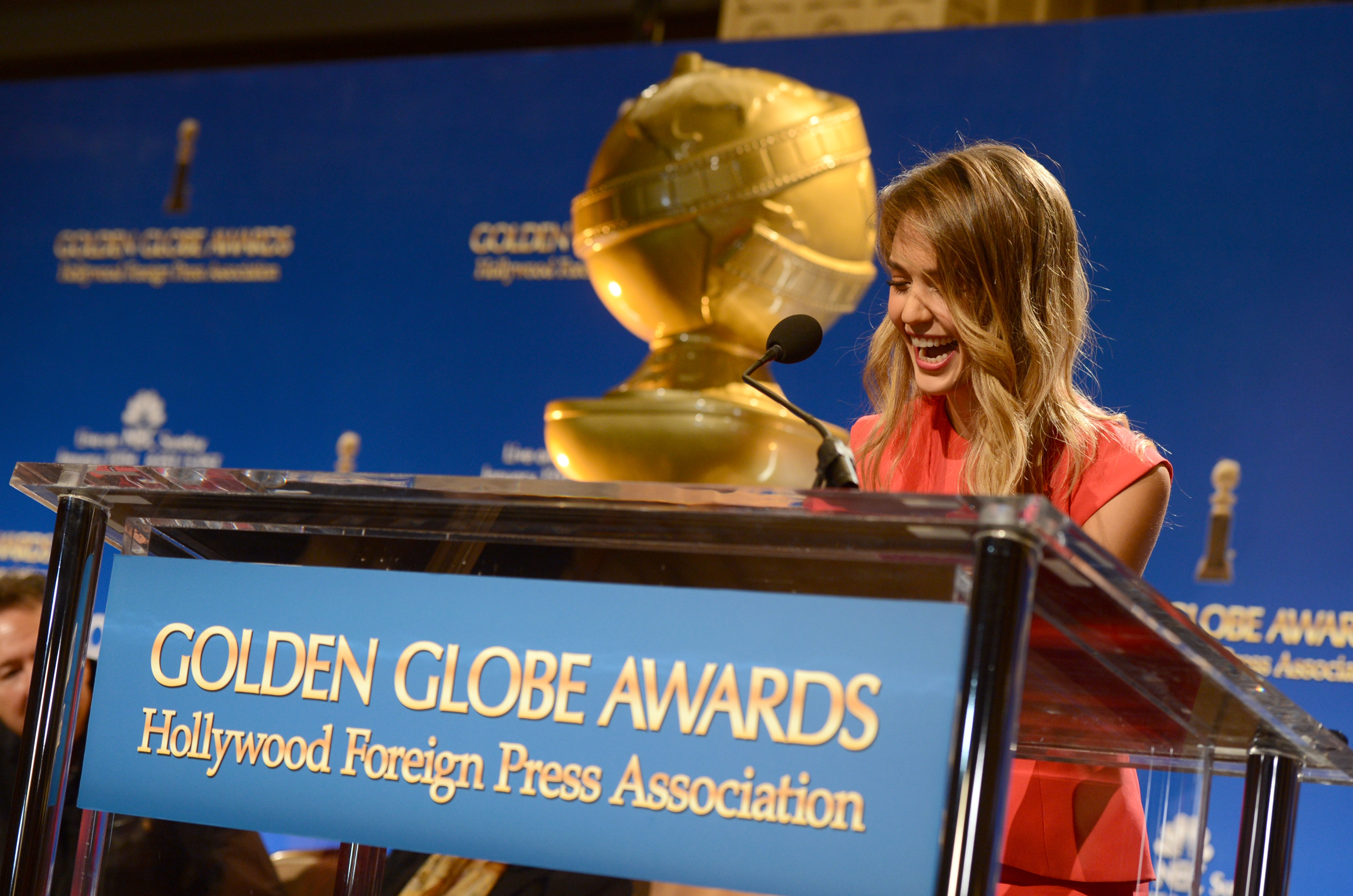 Jessica Alba was on stage at the Golden Globe Awards Nominations in LA.