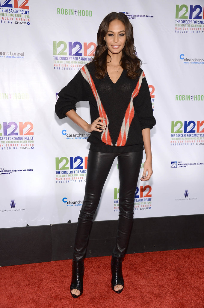 Joan Smalls stepped out to support the 12-12-12 Robin Hood Relief Fund concert in NYC.