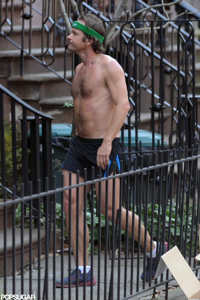 Peter Sarsgaard went for a shirtless run in NYC in January.
