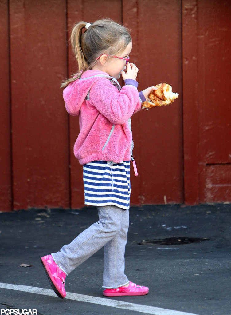 Seraphina Affleck snacked on some breakfast food.