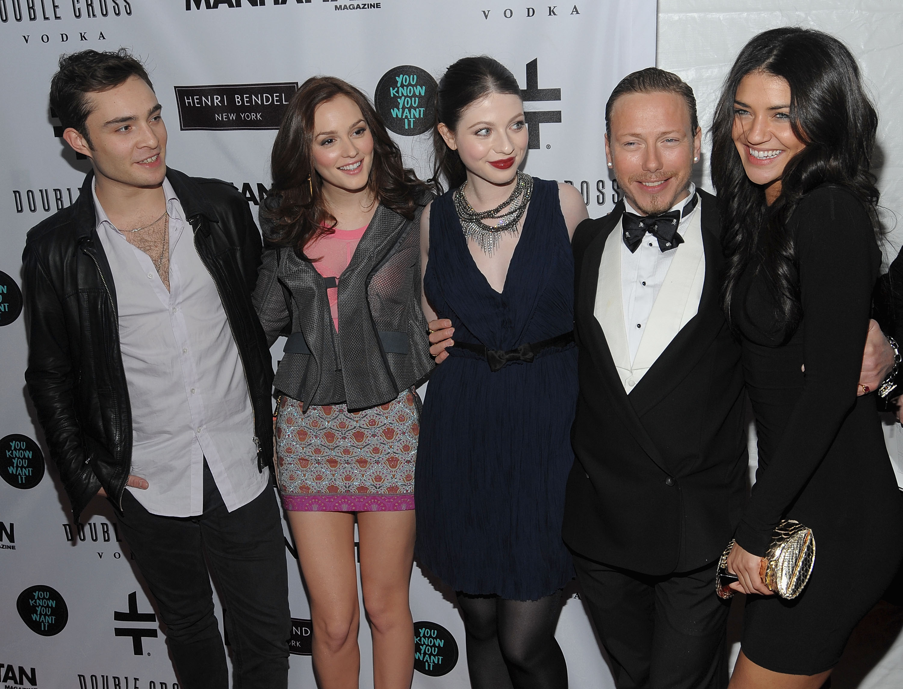 Ed Westwick, Leighton Meester, Michelle Trachtenberg and Jessica Szohr attended a party at NYC's Henri Bendel in January 2010.