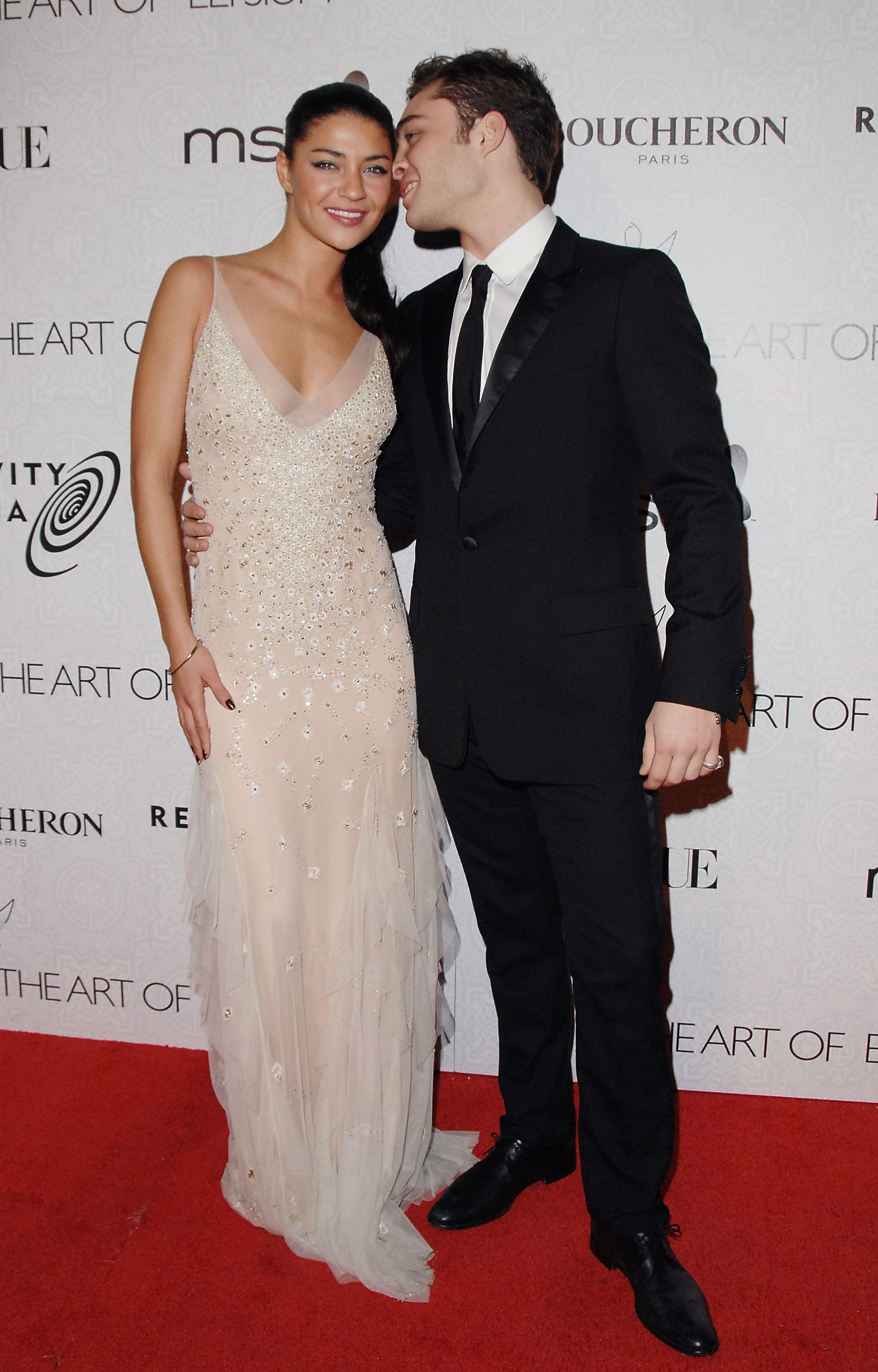 Ed Westwick shared a secret with Jessica Szohr at LA's Art of Elysium's third annual Black-Tie Charity Gala in January 2010.