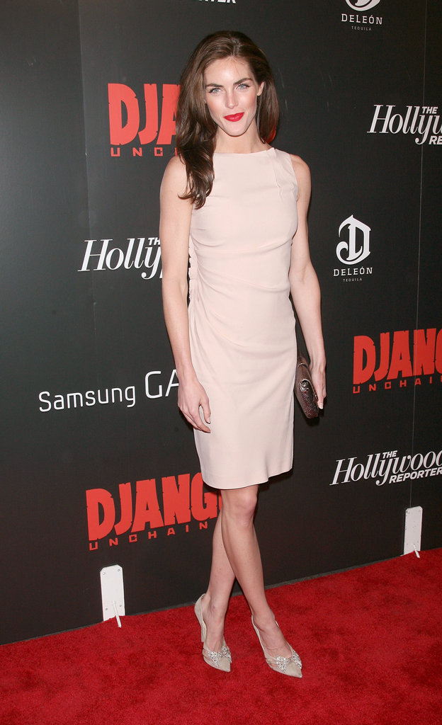 Hilary Rhoda kept it simply chic in a nude shift and coordinating pumps, but she knew just how to turn it up with a red lip to punctuate the whole ensemble at a screening of Django Unchained.