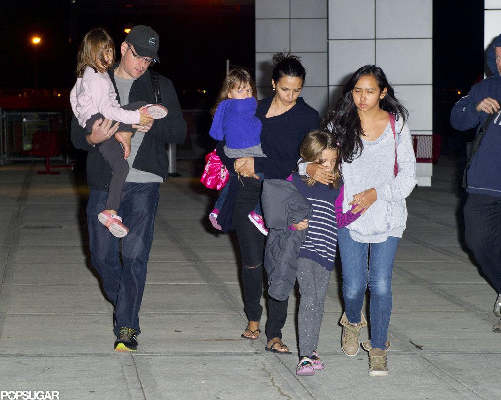 Matt Damon went East for the holidays with Luciana Damon, Isabella Damon, Alexia Barroso, Gia Damon, and Stella Damon.