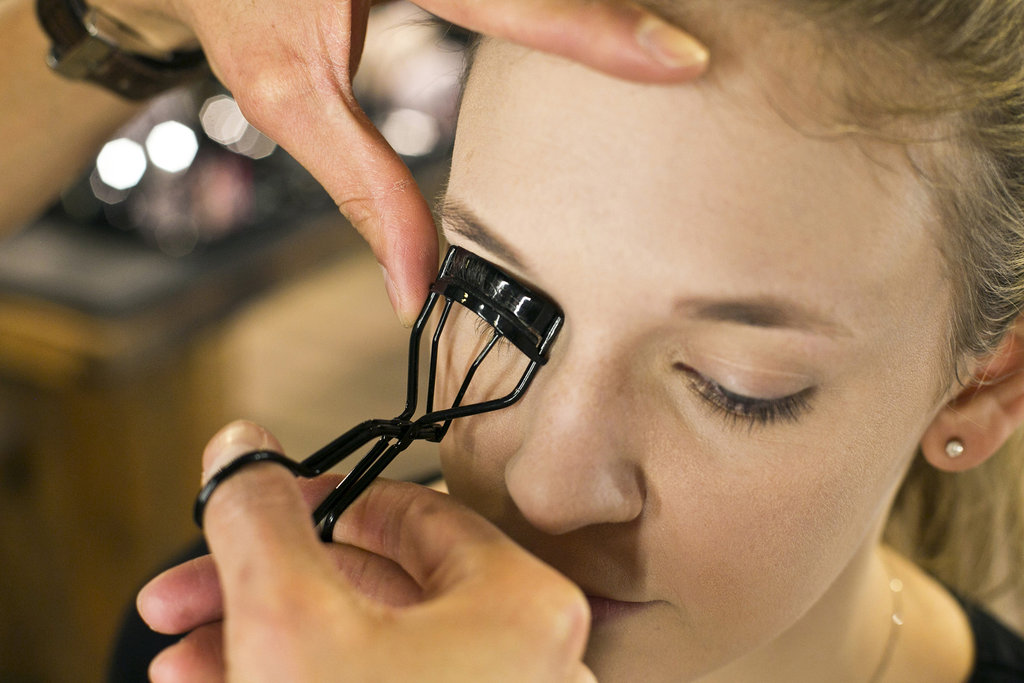 """""""An important tip is you have to do a lash curler before you apply your lashes,"""" Jennings says. """"Get as close to the root of the lashes as possible."""" He recommends curling it twice in the same place for the maximum result. Source: Caroline Voagen Nelson"""