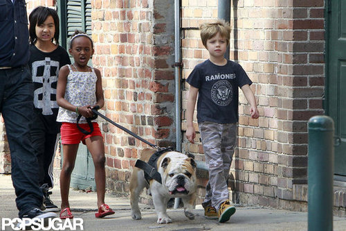Maddox, Zahara, and Shiloh took the family bulldog on a walk around New Orleans in March 2012.