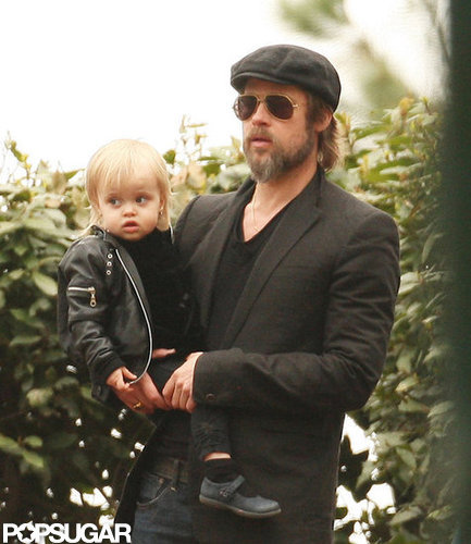 Brad Pitt held on tight to baby Vivienne while visiting a park in Venice, Italy, back in April 2010.
