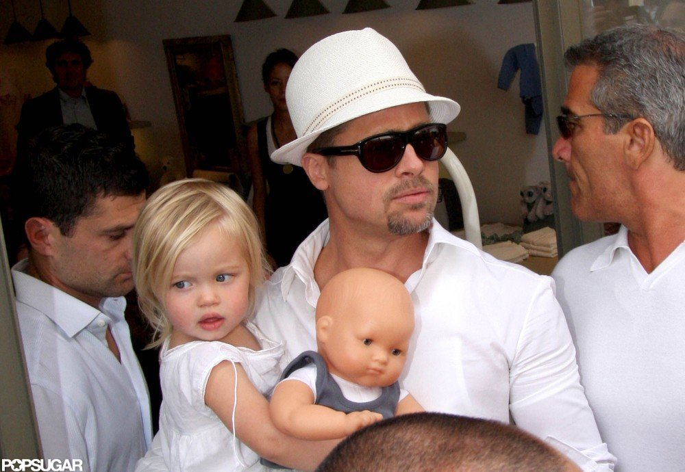 Brad Pitt carried Shiloh as they arrived in Nice, France, in May 2008.