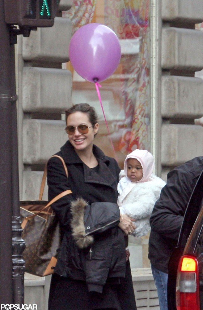 Zahara snuggled up to Angelina Jolie in Paris in February 2006.