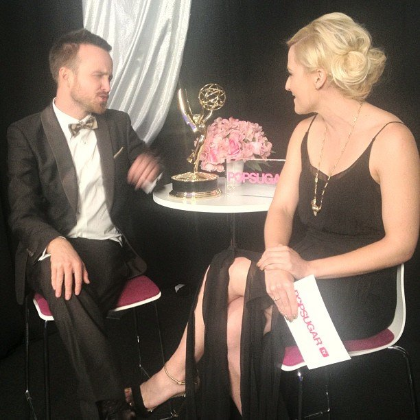 Breaking Bad's Aaron Paul couldn't help gushing about his fiancé when we caught up with him at the Emmys.