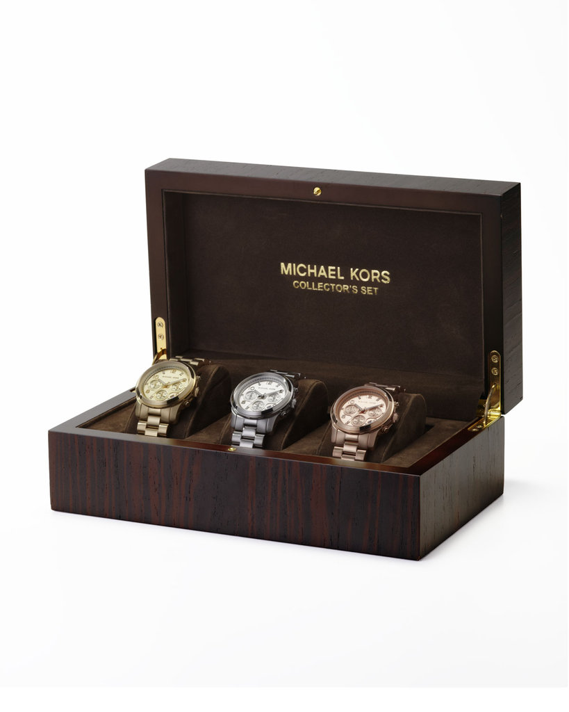 Treat the ultimate (and deserving) timepiece collector with this Michael Kors runway chronograph watch set ($795). Receive free rush delivery with special code NMRUSH.