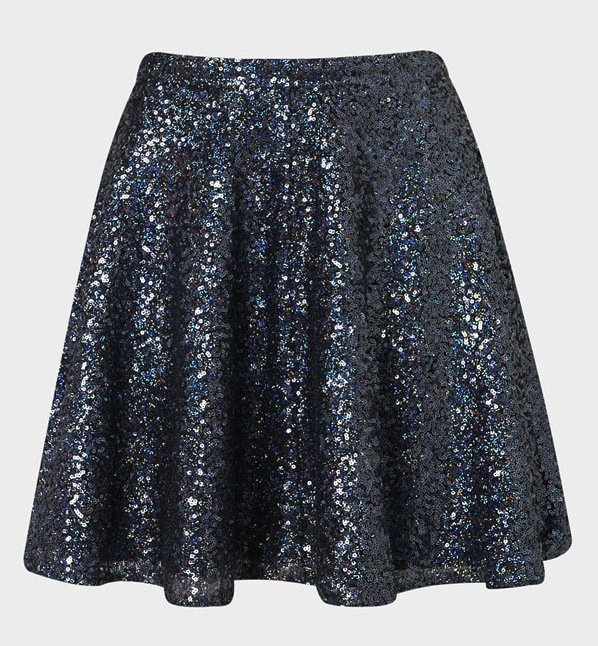 Offset the sparkly finish of this Topshop Sequin Skater Skirt ($90) with a crisp, white button-down blouse.