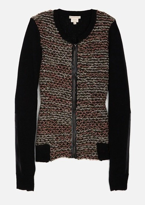 We approve of the contrasting sleeves on this Leroy & Perry tweed zip cardigan ($179, originally $388). With a pair of faded skinny jeans, it'll really come to life.