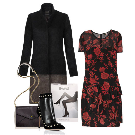 Dressy florals aren't a new concept by any means, but we love this sultry take on red and black romanticism. Inspired by Liv Tyler's night-out look, we've styled up a fitted floral dress with black tights and a contrast coat, then accessorized with sexy studded booties and a chain-strap bag. Shop this look:  AllSaints Strand Crombie Coat ($495) DKNY Jocelyn Printed Stretch Silk Crepe de Chine Dress ($295) Wolford Black Velvet Deluxe Tights ($30) Valentino Black Leather Rockstud Ankle Boots ($1,005) Madewell The Chain Minibag ($118)
