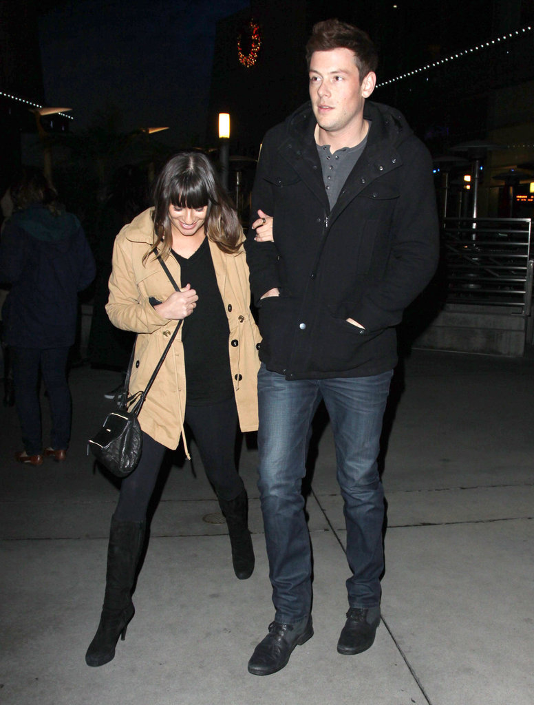 Lea Michele held on tight to boyfriend Cory Monteith.