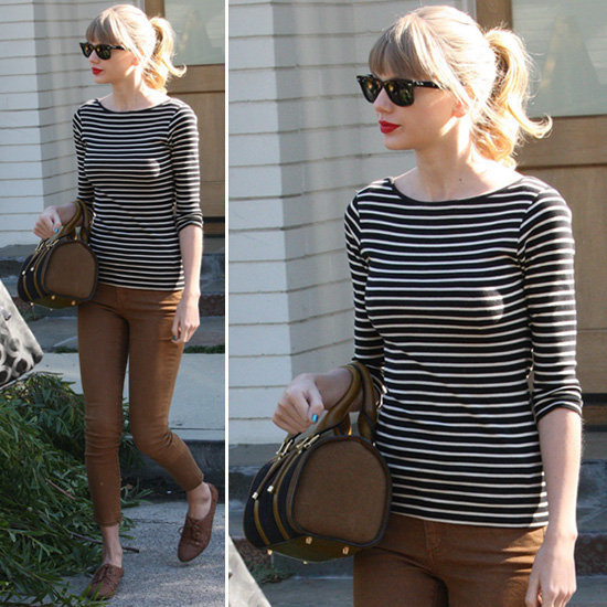 Taylor Swift is rocking a bag we'd like to get our hands on: one seriously cool Burberry tote.