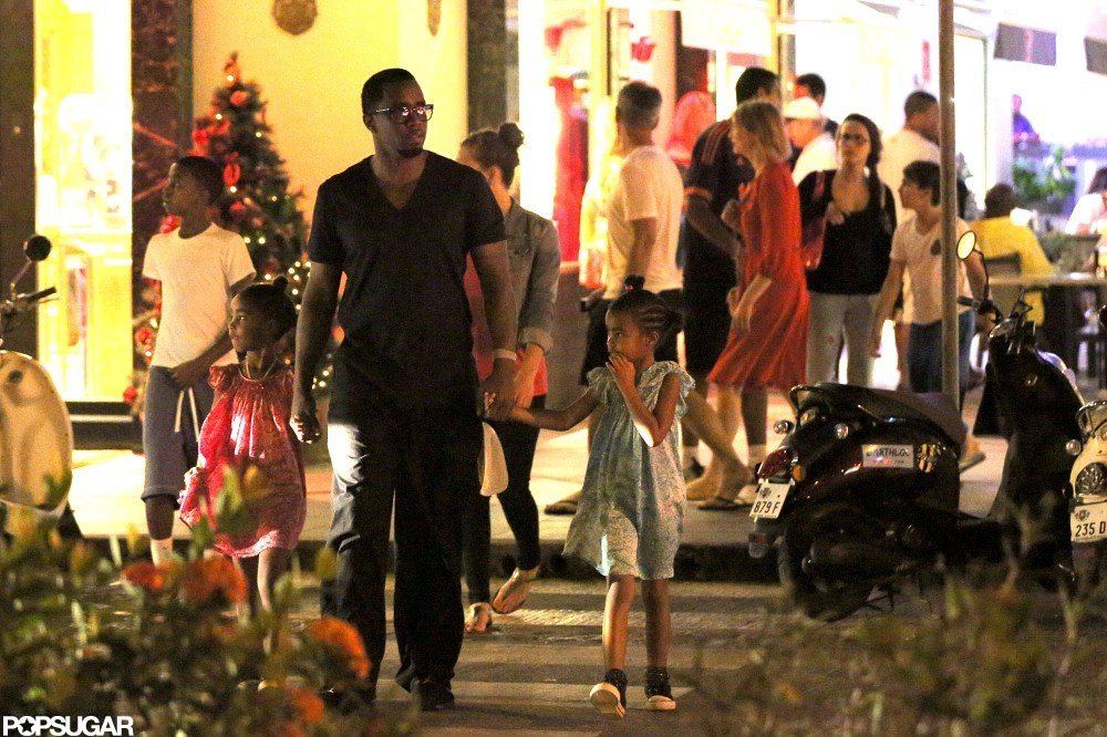 Diddy shopped in St. Barts with his daughter D'Lila and Jessie.