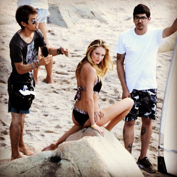 Candice Swanepoel reported for duty on the beach. Source: Instagram user angelcandices