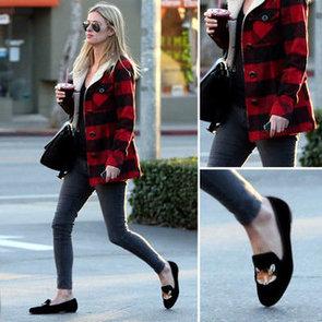 Nicky Hilton Wearing Plaid Coat 2012