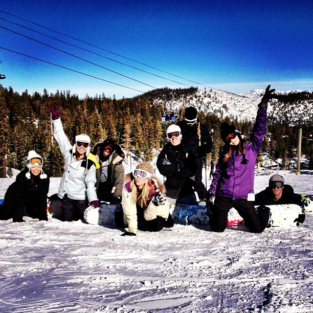 Ashley Tisdale and her friends said goodbye to 2012 with a day on the slopes in Mammoth.  Source: Instagram user ashleytis