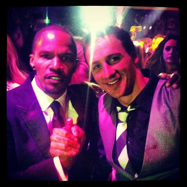 Ryan Lochte rang in the new year alongside Jamie Foxx. Source: Twitter user ryanlochte