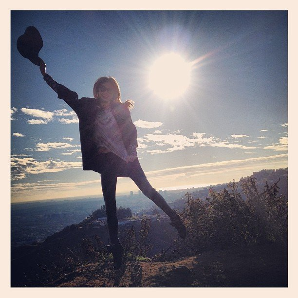 Miranda Kerr shared a photo while high atop a hill. Source: Twitter user MirandaKerr
