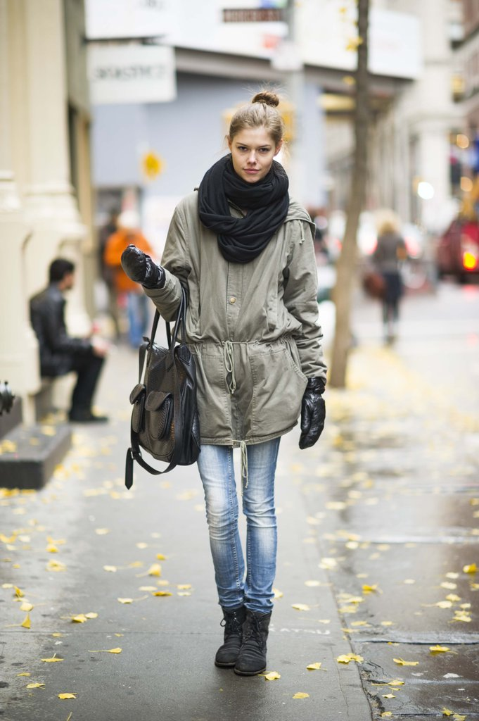 The everyday anorak is even better with an infinity scarf. Source: Adam Katz Sinding