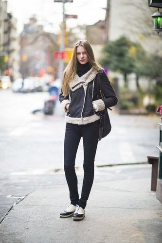 A shearling jacket is all you need to (stylishly) brave the chill. Source: Adam Katz Sinding