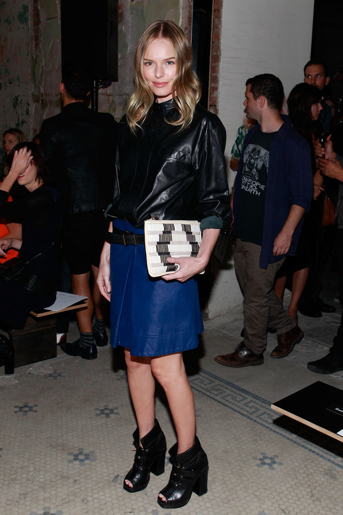 Kate showed up to support one of her favourite brands, Proenza Schouler, at their runway show during New York Fashion Week in September 2012. She was the picture of downtown cool in a leather top and royal-blue skirt, which she paired with black ankle boots and a printed clutch.