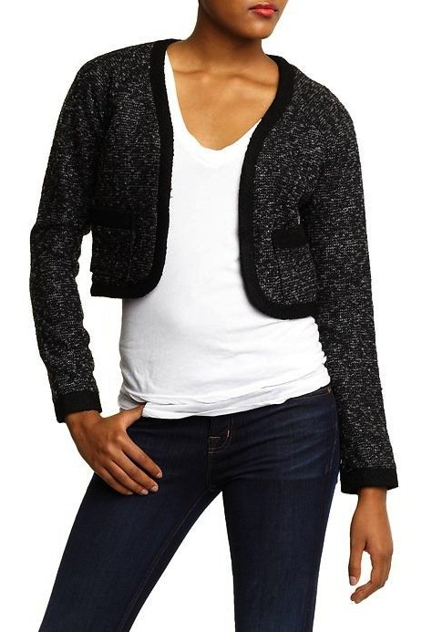 We picked this AG Adriano Goldschmied cropped wool jacket ($27, originally $89) because it can be dressed down on the weekend with jeans and dressed up with a sleek pencil skirt or trousers for work.
