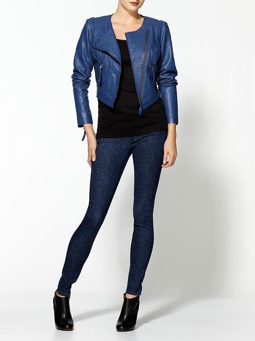 Free People's blue vegan leather cropped jacket ($150, originally $198) screams cool. We think it would look the most amazing with a pair of black wide-leg trousers.