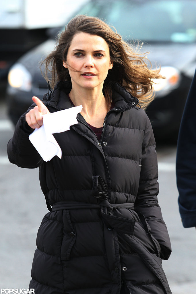 Keri Russell kept warm on the windy day.