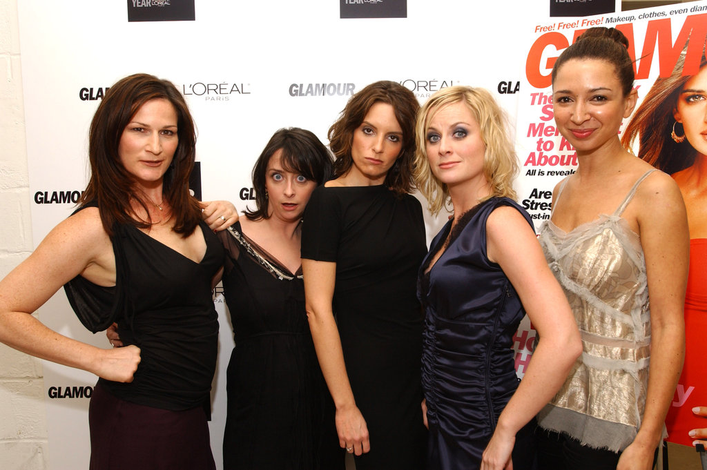 Tina and Amy joked around while posing with fellow SNL stars at Glamour's Women of the Year Awards on Oct. 28, 2002.