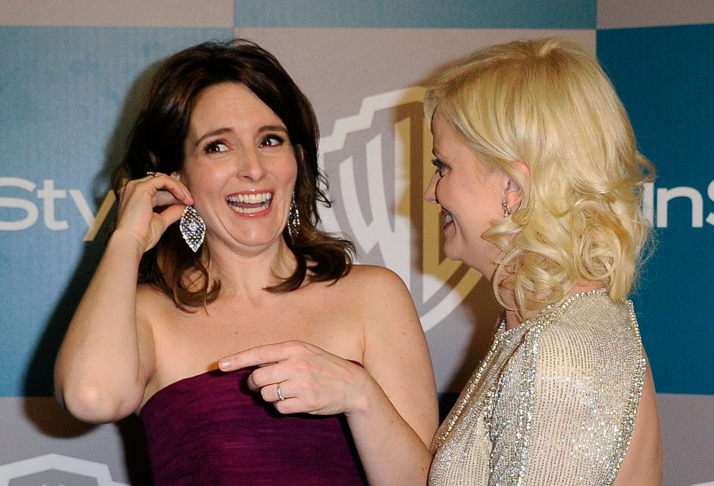 The pals laughed while Tina adjusted her earrings at the InStyle Golden Globes after party in 2012.