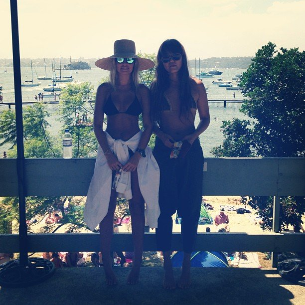 Lara Bingle and a friend took to the shade — with a view — on a hot summer's day. Source: Instagram user mslbingle