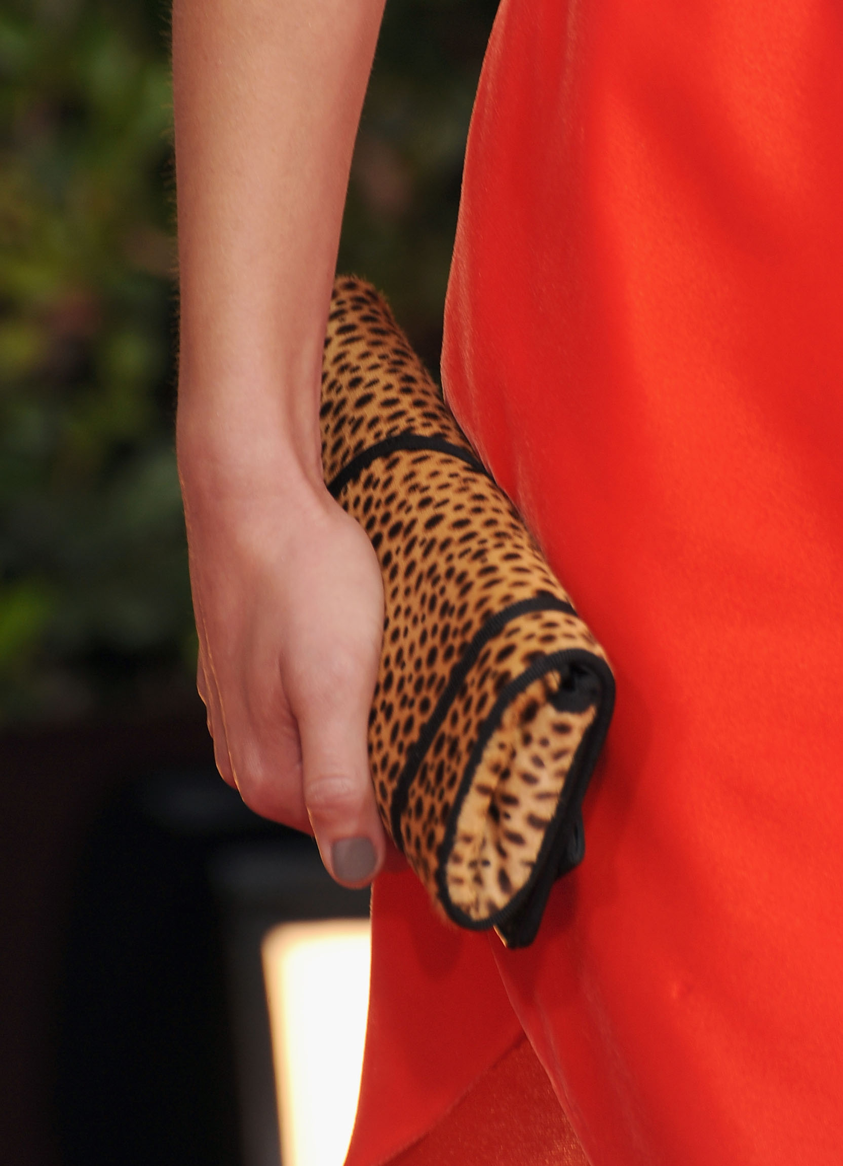 Marion Cotillard held a leopard print clutch for the special occasion.
