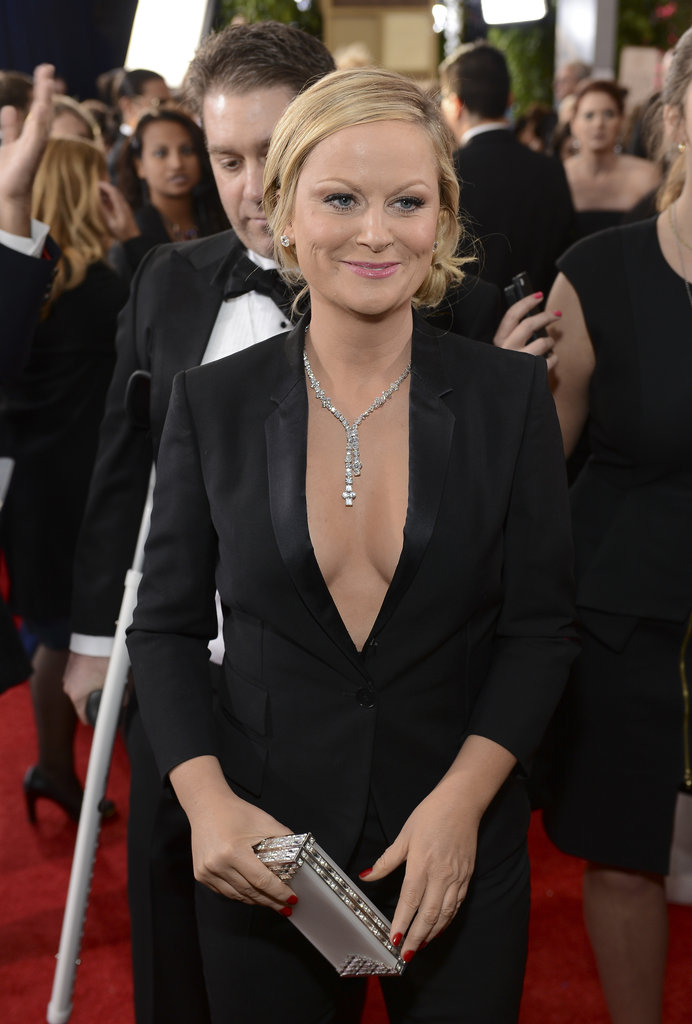 Amy Poehler Suits Up For the Globes Red Carpet